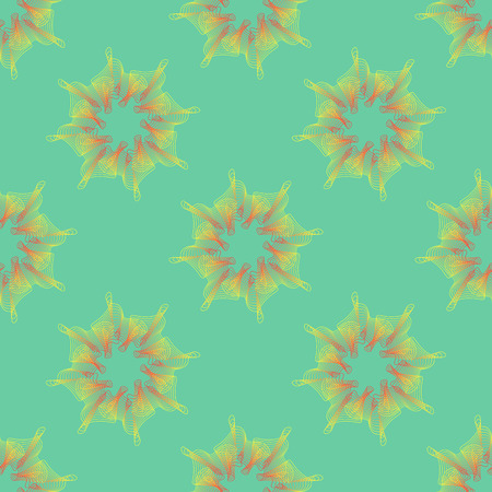abstract modern vintage flora wireframe seamless pattern on green background