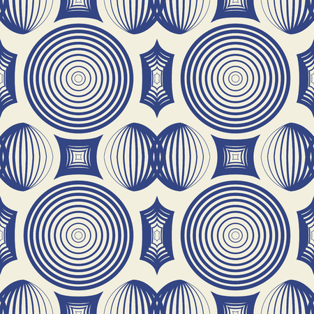 modern vintage blue geometric shape seamless pattern on cream