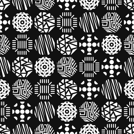 modern vintage white variety octagon shape seamless pattern on black