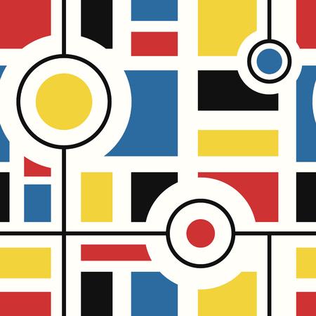 vector modern mondrian art style seamless pattern on white Illustration