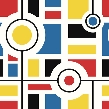 vector modern mondrian art style seamless pattern on white  イラスト・ベクター素材