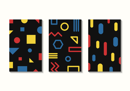 vector modern mondrian art pattern background collection for brochure banner and publication