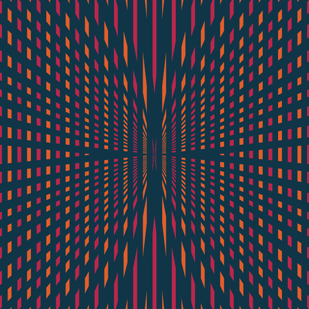 abstract modern geometric illusion red and orange radial style pattern on dark blue