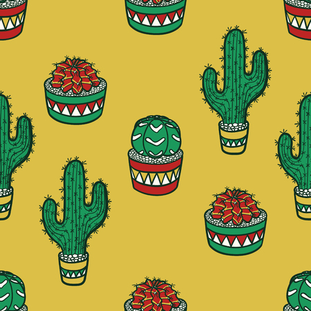 vector modern vintage cactus doodle style seamless pattern on yellow