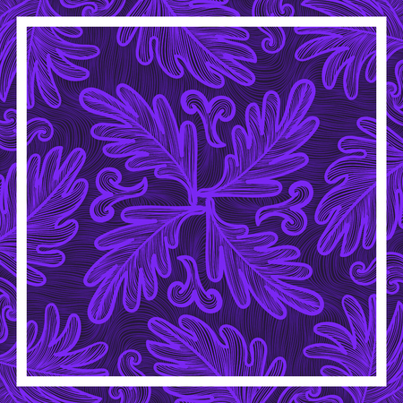 contemporary violet leaves lines pattern with white frame