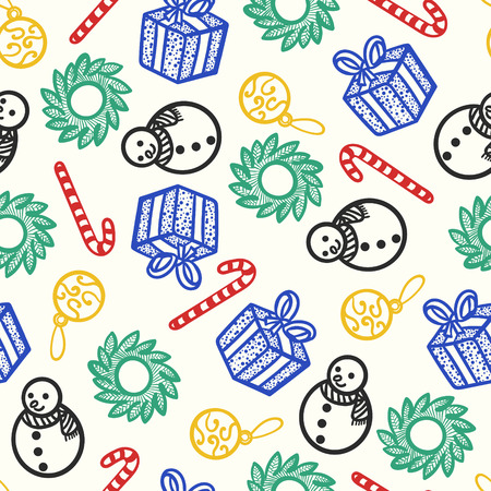 doodle christmas cute outlines seamless pattern on cream  イラスト・ベクター素材