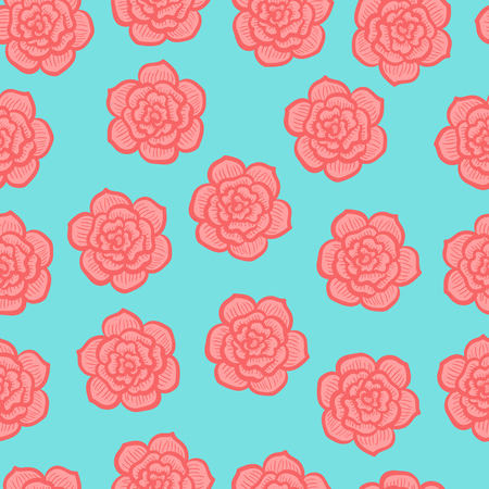 the doodle freehand red rose flower seamless pattern on green
