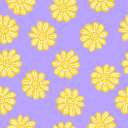 the doodle freehand yellow sun flower seamless pattern on violet