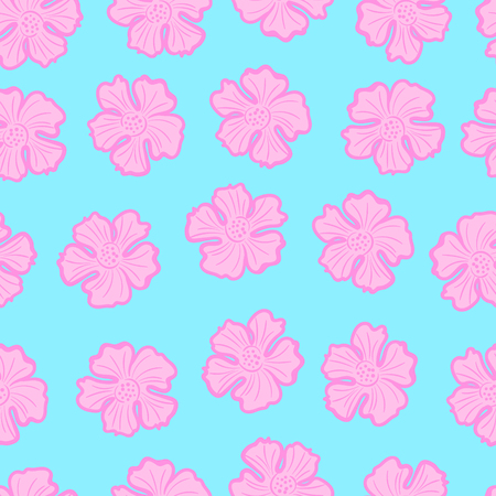 the doodle freehand pink hibiscus flower seamless pattern on light blue