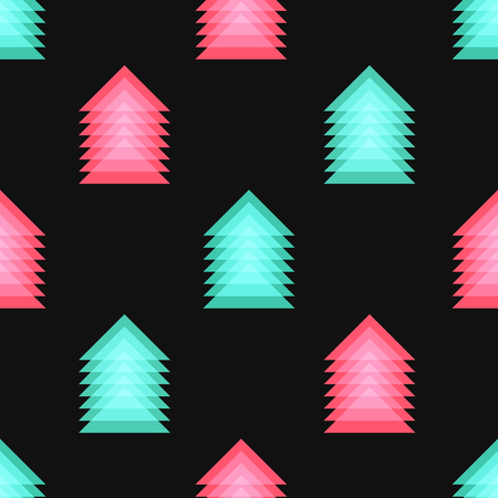 green and red triangles overlap seamless pattern on black