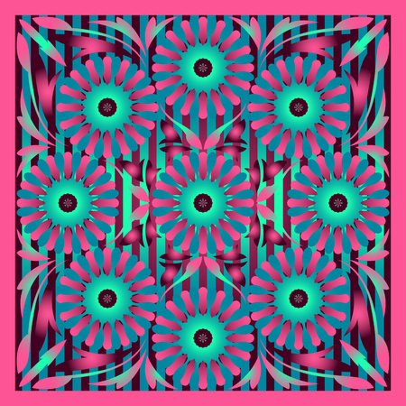 modern contemporary pink and green floral pattern Illusztráció