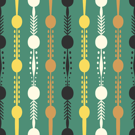 abstract vintage vertical shape seamless pattern on green