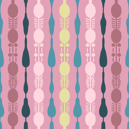 abstract vintage vertical shape seamless pattern on pink