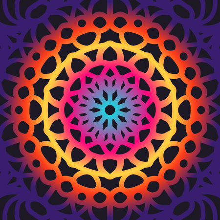 contemporary colorful mandala pattern on black