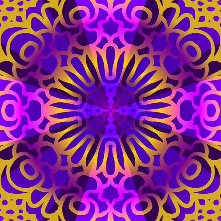 contemporary colorful mandala pattern on violet Illusztráció