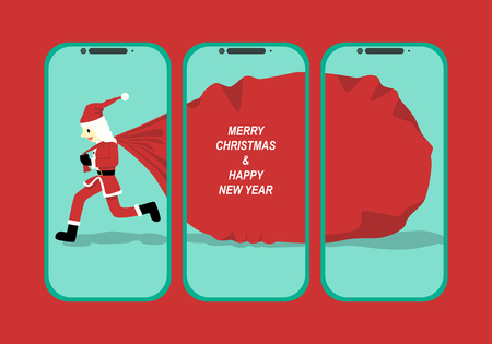 vector santa claus carry toy bag in smartphone background for brochure banner and publication