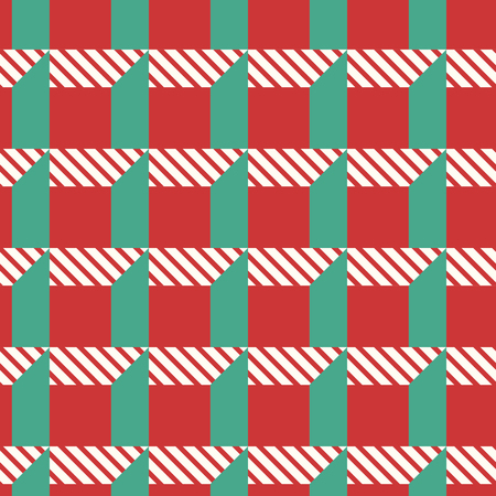 contemporary christmas geometric seamless pattern on red