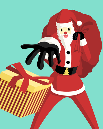 vector santa claus carry toy bag giving a gift box background for brochure banner and publication