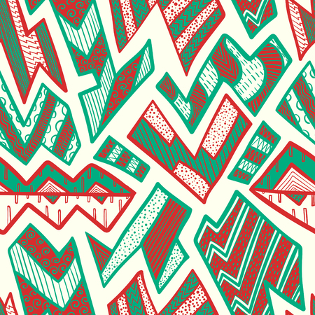 contemporary christmas doodle freeform shape seamless pattern