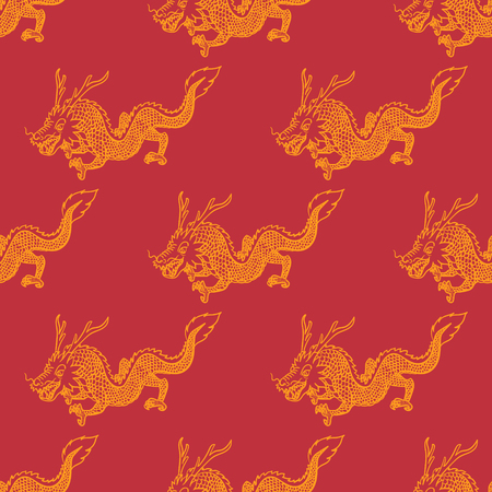 modern contemporary golden chinese dragon seamless pattern on red