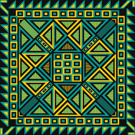 moderno geométrico nativo amarillo y verde sobre patrón negro