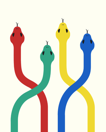 vector flat colorful snakes background for brochure banner and publication