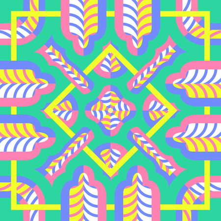 modern contemporary switching colorful geometric pattern with yellow frame