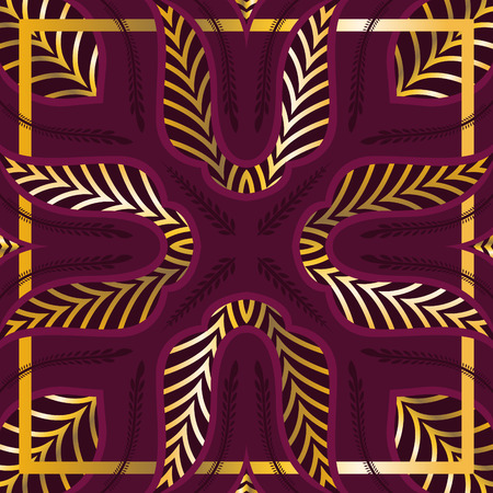 contemporary golden and red luxury leaves pattern with frame