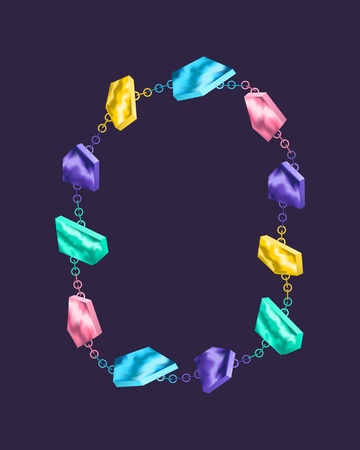 colorful geometric stone necklace ornament 일러스트