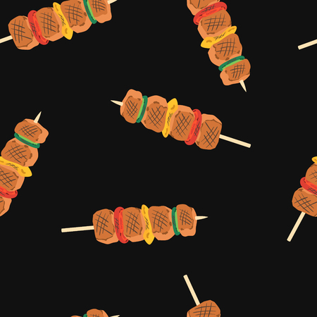 vector grilled barbecue skewers seamless pattern on black Illustration