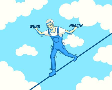 an oldman choosing between work and health on wire rope