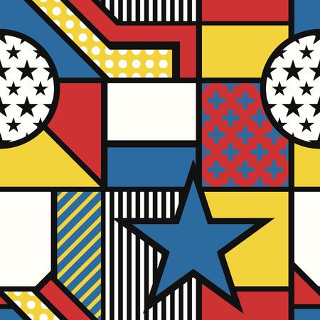 vector modern mondrian art style seamless pattern