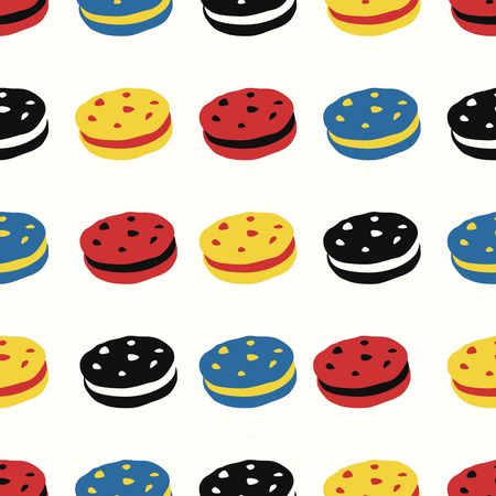 vector modern mondrian art variety chocolate chip cookie and cream style seamless pattern