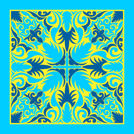 contemporary blue and yellow vine and leaves pattern Archivio Fotografico - 125041087