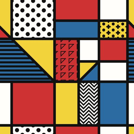 vector modern mondrian art style seamless pattern Stock Illustratie