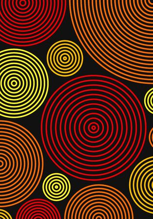 vector geometric circle color lines pattern on black background for brochure banner and publication