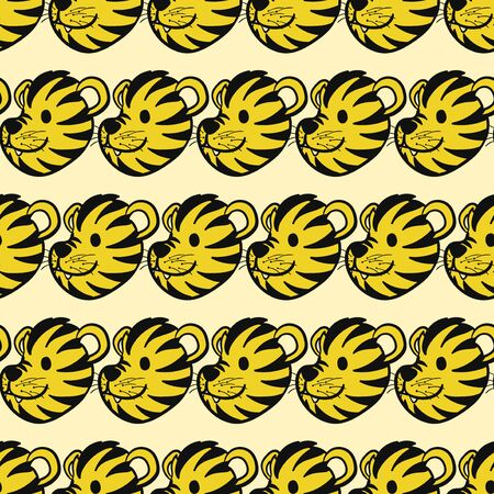 vector baby cute tiger head seamless pattern  イラスト・ベクター素材
