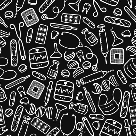 vector doodle white medical equipment seamless pattern on black