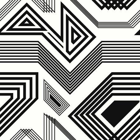 vector, moderno, negro, geométrico, líneas, seamless, patrón, blanco