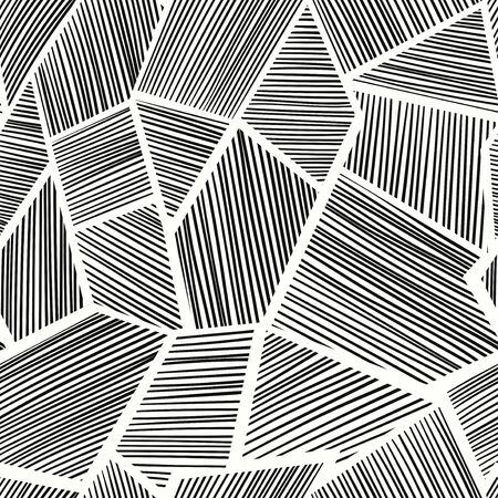 vector modern black geometric lines seamless pattern on white 写真素材 - 128380356