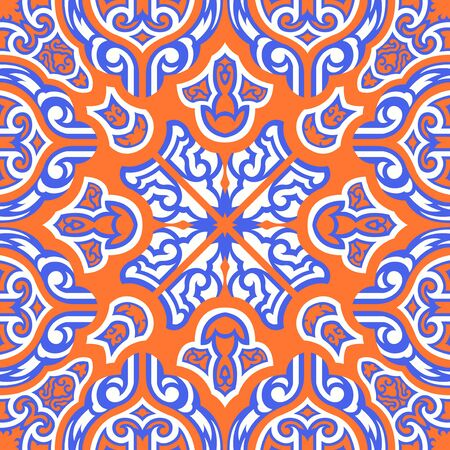 contemporary orange and blue asian floral pattern Иллюстрация