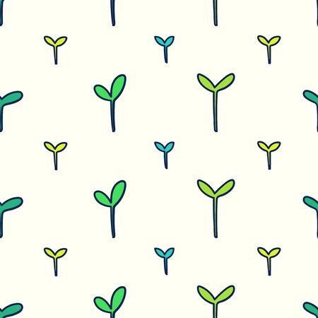 vector seeding growth seamless pattern on cream