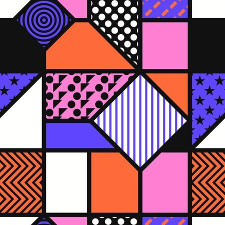 vector modern mondrian art style seamless pattern 写真素材 - 128237019