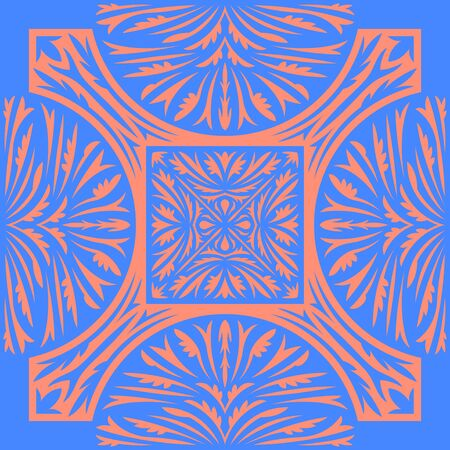 modern vintage blue and orange leaves pattern