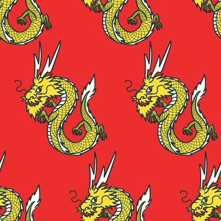 vector yellow china dragon seamless pattern on red