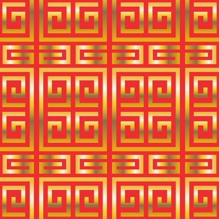 vector golden china style seamless pattern on red  イラスト・ベクター素材