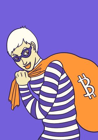 bitcoin thief with sack background