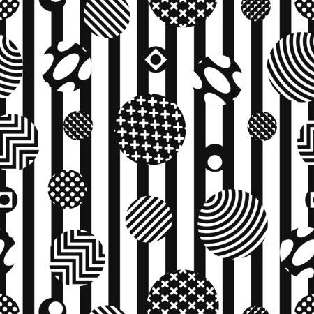 vector modern black and white multi circle seamless pattern 写真素材 - 132825450