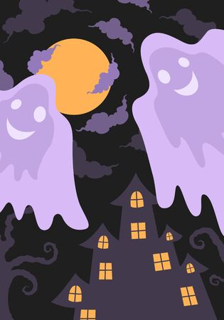 vector halloween flying ghost and castle background for brochure banner and publication 写真素材 - 132825453