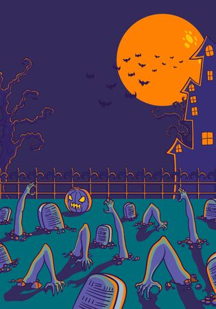 vector halloween zombie on graveyard and castle background for brochure banner and publication